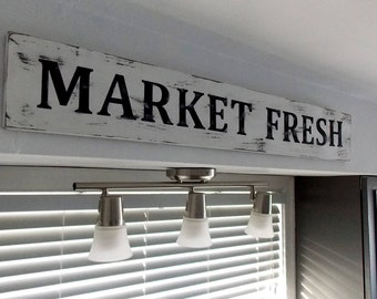 Market Fresh Farmhouse Sign, Fixer upper sign,  farmhouse decor, Market Sign,  Shabby Chic Sign, Farm House, Wood Sign, Kitchen Sign