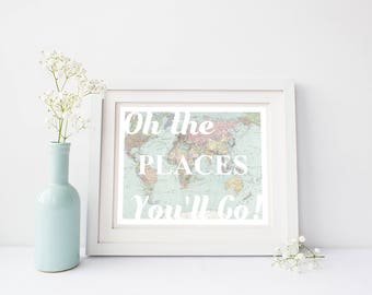 Oh the Places You'll Go, Map Nursery Wall Art -  World Map Print for Gender Neutral Nursery, Map Nursery Decor, Travel Nursery Decor