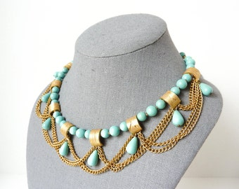 Vintage Teal Bead Necklace with Gold Tone Metallic Chains from the 1950s by Kramer