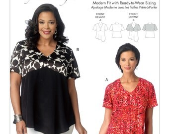 Sewing Pattern for Misses'/Women's Asymmetrical-Hem Tops Connie Crawford , Butterick Pattern 6187, Plus Sizes to 6X Available