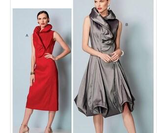 Sewing Pattern Misses' Princess Seam Dresses W/ SHAPED STAND COLLAR, Vogue Pattern 9241, Kathryn Brenne,Vogue Designer Original, Two Styles