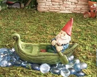 Fairy Garden Miniature Gnome in Canoe, Resin Leaf Canoe with Gnome For Fairy Garden, Fairy Garden Accessory, Gnome Village, Miniature Garden