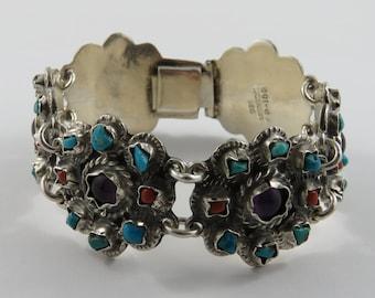 Mexican Sterling Silver 7 inch multi stone Bracelet