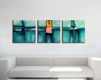 ABSTRACT PAINTING -  Modern Home Wall Decor Painting Canvas Art (together 150x50 cm )(60x20inch) decor home