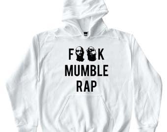 F**K Mumble Rap Hip Hop Men's / Unisex - White Hoodie Biggie Smalls Tupac Shakur 2pac Nas Jay-Z 80s 90s Retro Music