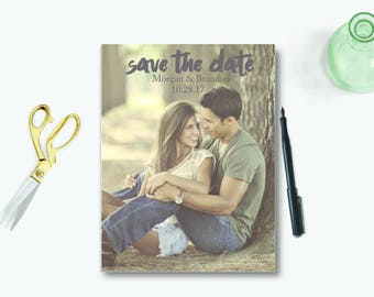 Printable Save the Date Card with Photo, save-the-date postcards, Modern Save the Date, Digital Save the Date, custom Save the Date