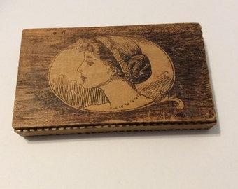 Box, Gibson Girl box, pyrography box, vintage box