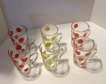Fire King polka-dot mugs, Fire King Polka dot patio mugs/glasses, Fire King glasses, vintage Fire King mugs