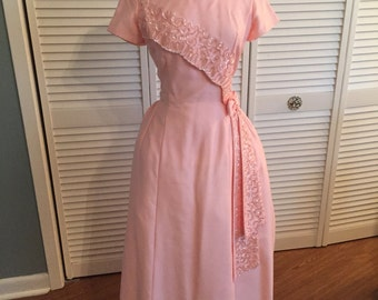 1960s pink sequined Emma Domb formal