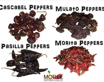 Combo of Dried Chili Peppers: Cascabel, Morita, Mulato, and Pasilla (8 oz and 1 Lb)