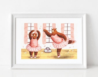 Ballerina Bears Art Print - Giclée illustration print, Limited Edition, Childrens art print, Nursery art, Animal print, Unframed, A4