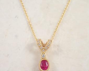 18K Yellow Gold Ruby and Diamond Pendant