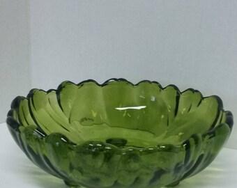 Vintage Mid-Century Indiana Glass Olive Green Salad Bowl/Tableware/Dinnerware