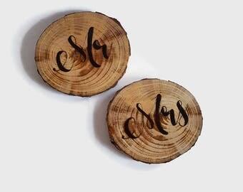 Wood Coasters - Mr and Mrs, Wedding Coasters, Pyrography, Wood Burned, Rustic Wedding, Wood Slices, Wood Art, Wood Burned Coasters