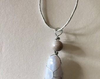 Wire wrapped blue lace agate fancy jasper bead