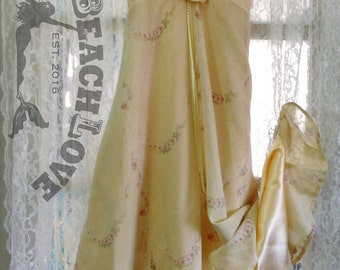 Yellow, Long,Dress, with Slip, Pink Rose Print, Size 10-12, One of a Kind, Girls, Easter, Beach  Wedding, Spring, Birthday, Flower Girl