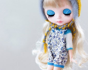 Bloomer Overalls and Sweater for Blythe doll - Peto Pant and sweater for Blythe doll