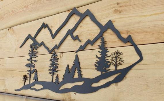 Metal Wall Art Mountain Landscapes : Metal wall art mountain trees scenic tree landscape