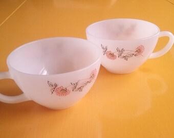 Set of 2 Fire King Ware Small Cups Mugs Fleurette Milk Glass 1960s