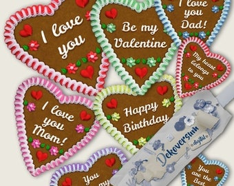 Gingerbread Hearts Oktoberfest • Clipart • Happy Birthday I love you mom dad Be my Valentine You are my sweetheart You are the Best