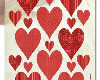 Design Kozo Mulberry Paper for crafts, scrapbooking, decoupage | big red hearts valentine's day wedding engagement love heart pattern