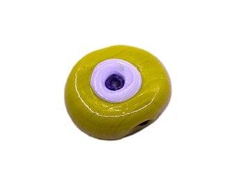 5 pcs Yellow Evil Eye Glass Bead   Yellow Evil Eye Round Beads,Lampwork Evil Eye Beads,Artisan Handmade Evil Eye Charms,Big Evil Eye