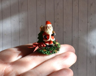 Dollhouse Miniature Christmas decoration ,Miniature Santa on table, Scale 1 12, scale one inch, miniature Christmas, Dollhouse Christmas