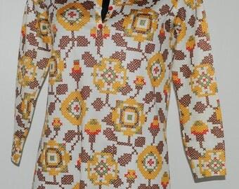 Vintage 70's multicolor top Size 38 FR
