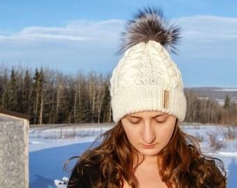 Hand Knitted Wool - Pom Pom Hat