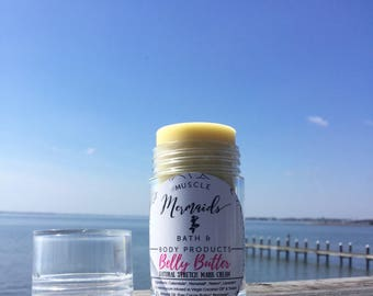 Belly Butter - Natural Stretch Mark Cream - Organic Herbal Moisturizer for Pregnant Bellies - 1 oz Push up Tube
