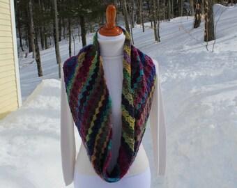 Wide Infinity Scarf, Crochet Infinity Scarf, Crochet Circle Scarf, Multicolor Infinity Scarf