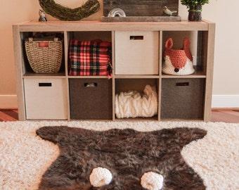 Nursery Rug / EXTRA LARGE / Faux Bear Rug / Woodland Forest Baby Nursery/ plush animal playmat  / ClaraLoo