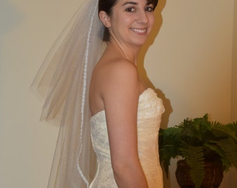 Mid Length Bridal Veil/Single Tier 35 inch White Veil optional with Blusher