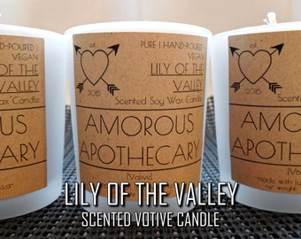 Lily of the Valley Votive Candle | Vegan Hand-poured Floral Scented Soy Wax Aromatherapy Votive with Frosted Glass Holder