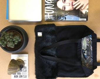 FAYEHINDLESTUDIO Black and Navy felted wool and rabbit fur Tote bag