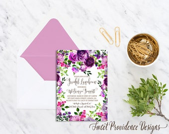 Bridal Luncheon Invitation / Printable Bridal Luncheon Invite/ Purple Floral Bridal Shower Invitation /Watercolor Wedding Invitation