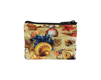 Shells Print Coin Bag // Change Purse // Pouch