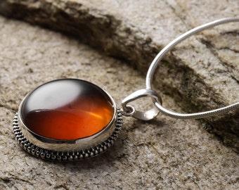 4cm Sterling Silver Bezel Set Natural Amber Pendant - Jewelry Making Amber Cabochon Pendant J587