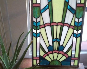 Art Deco Stained Glass Window Panel in Pastel Colors