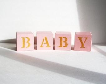Pink Baby Girl Nursery Blocks, Baby Blocks, Love Blocks, Nursery Decor, Rustic Nursery Decor, Reversible Blocks, Baby Shower Gift, Baby Gift