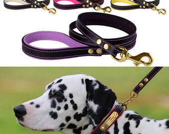 Padded Leather Dog Leash 4 Foot Lead Small Large Black