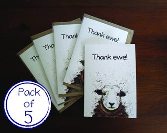 Pack of 5 'Thank You' Sheep Animal Wildlife A6 Cards