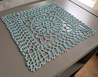 Square light country turqoise crochet lace doily