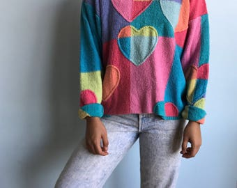 Vintage sz s/m tri color heart sweater