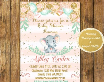 Digital file or Printed-Elephant Baby Shower Girl Invitation-Floral Elephant Invite-Printable Pink Elephant Baby Shower Invitation-