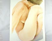 Woman nude,watercolor,portrait,original,ooak,26x36 cm./10x14 inc., gift idea,birthday,wall art,home decoration,bedroom,living room,lounge.