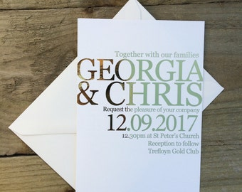Modern gold foil wedding invitation, gold/silver/copper/rose gold/bronze wedding invitation