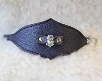 Leather wristband; OWL cuff; Faery bracelet; leather wristlet. Purple leather cuff
