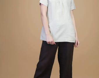 Casual linen top with pockets | top, linen top, comfy top, long top, loose top, pleated top, linen blouse, pocket, summer top, linen dress