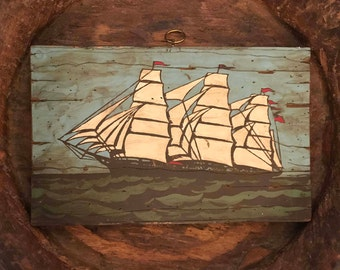 Vintage Wooden Plaque Wall Hanging with Hand Painted Clipper Ship